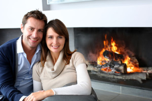 Romantic couple in ideal marriage